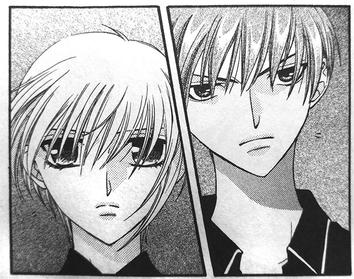Yuki and Kyō from Fruits Basket volume 3 by Takaya Natsuki (Hana to Yume Comics, Hakusensha, 1999)